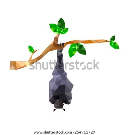 Illustration of origami bat hanging on branch - stock vector