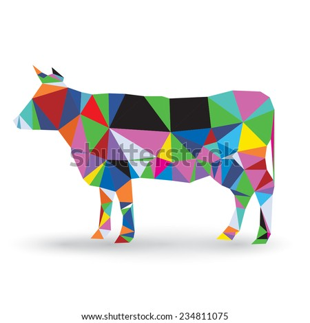 Illustration of origami cow isolated on white background  - stock vector
