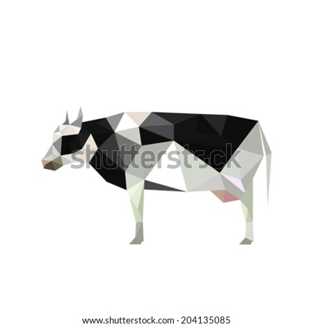 Illustration of origami cow with spots isolated on white background - stock vector