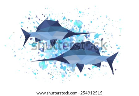 Illustration of origami sword fish on abstract background - stock vector