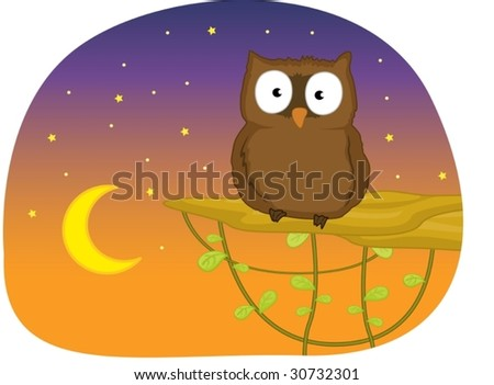 illustration of owl in the night - stock vector