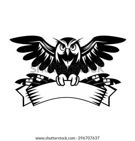 Illustration Of Owl Sitting On The Blank Banner
