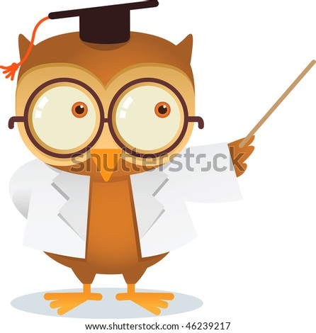 illustration of owl teaching - stock vector