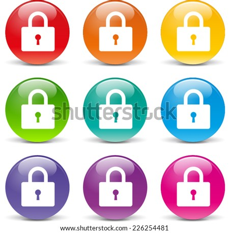 Illustration of padlock icons various colors set - stock vector