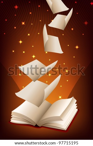 Book with pages flying out