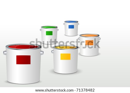 illustration of paint bucket filled with colorful paints on white background - stock vector