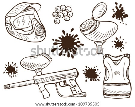 Illustration of paintball equipment and splash  - doodle style - stock vector