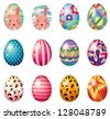 Illustration of painted easter eggs on a white background - stock photo