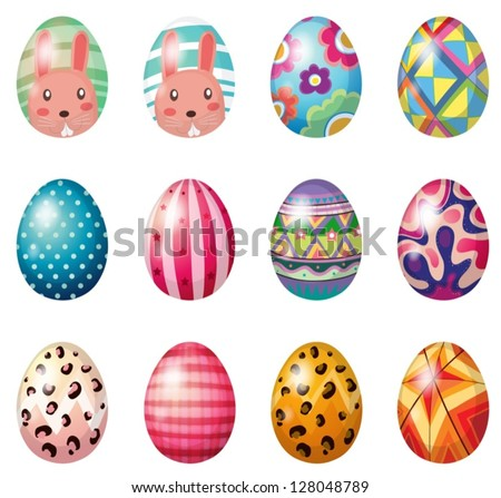Illustration of painted easter eggs on a white background