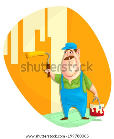 illustration of painter painting wall in vector - stock vector