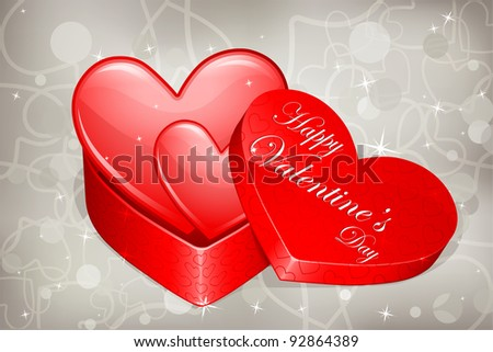 illustration of pair of heart in heart shaped gift box - stock vector