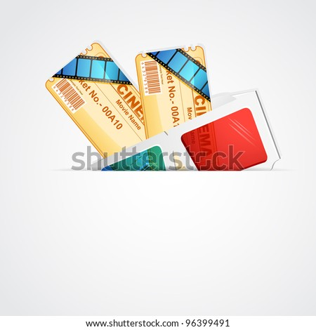illustration of pair of movie ticket with 3d glasses - stock vector