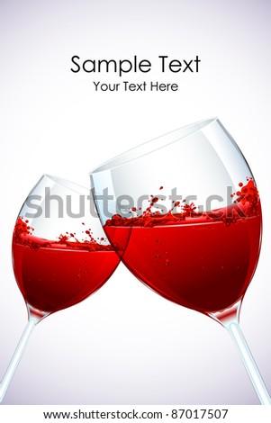 illustration of pair of splashing wine glass - stock vector