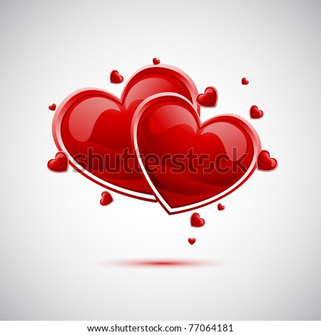 illustration of pair of valentine heart on abstract background - stock vector