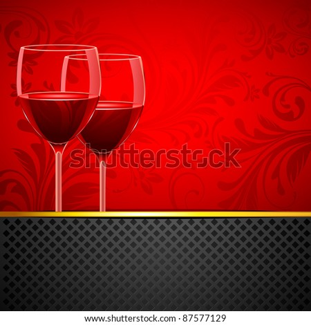 illustration of pair of wine glass on floral background - stock vector
