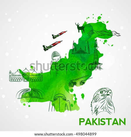Illustration of pakistan's map with famous landmarks and monuments.