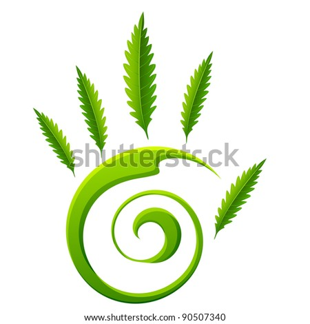 illustration of palm of hand made of leaf on white background - stock vector