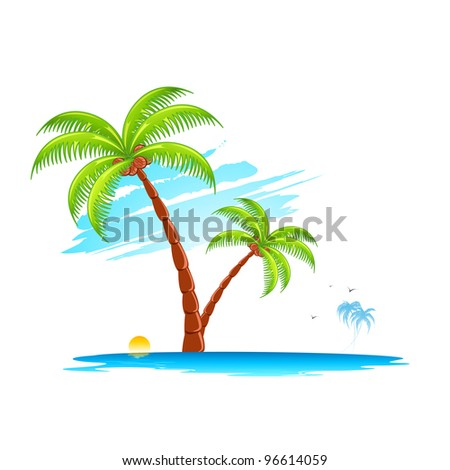 illustration of palm tree in island on abstract background