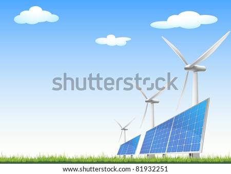 illustration of panels with solar cells and wind generators on a green field with blue sky, eps8 vector - stock vector