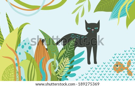Illustration of panther near the pond - stock vector