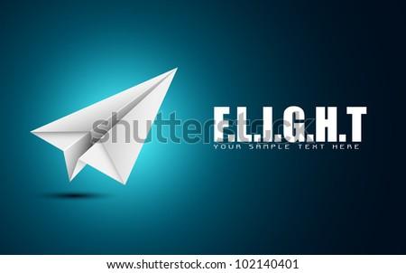 illustration of paper folded airplane on motivational flight background - stock vector