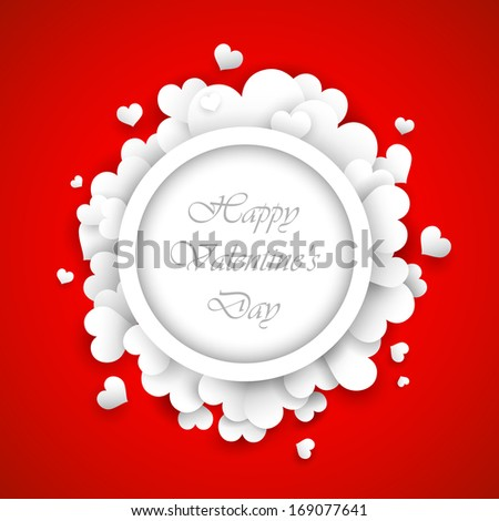 illustration of paper heart in Love background for happy valentines day card - stock vector