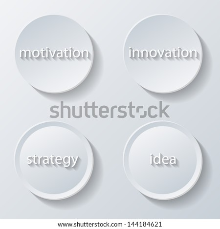 Illustration of paper icons buttons set business. Vector. - stock vector