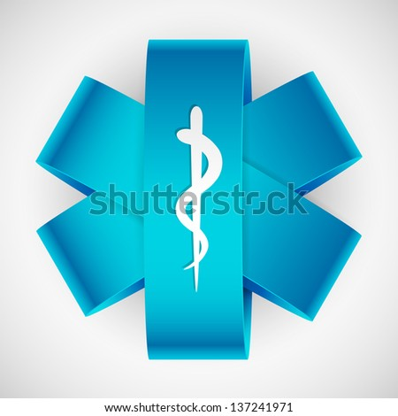 illustration of paper medical symbol with serpent and stick - stock vector