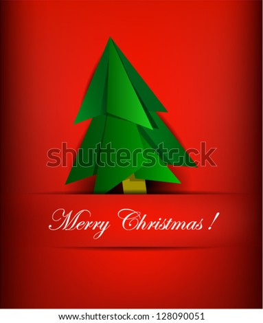 Illustration of paper pine tree card for Christmas on red background