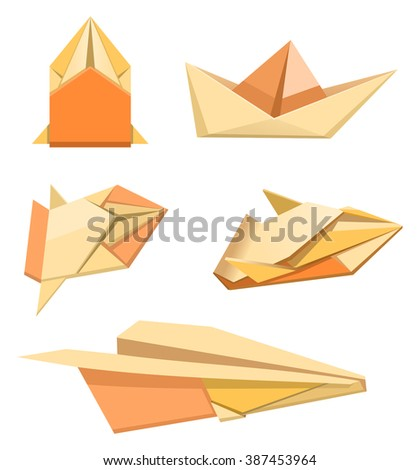 Illustration Of Paper Plane Car And Ship Origami Hand Made Things Toys