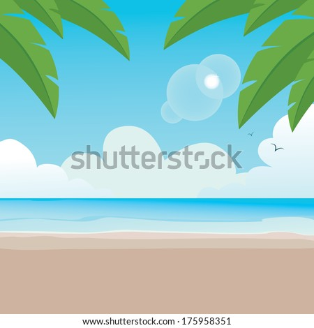 Illustration of paradisaical tranquil beach background scene with palm trees - stock vector