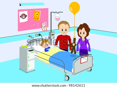 Illustration of parents visiting their child in hospital. All vector objects and details are isolated and grouped. This illustration is a part of a story about a child in hospital. - stock vector
