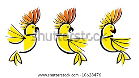 Illustration of 3 parrots of a cockatoo - stock vector