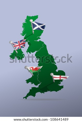 Illustration of parts of United Kingdom represented with flags - stock vector