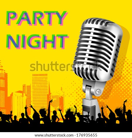 illustration of party crowd on musical background with microphone - stock vector