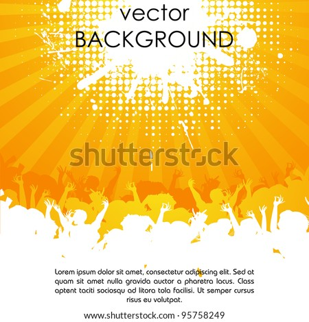 illustration of party people cheering on abstract background - stock vector