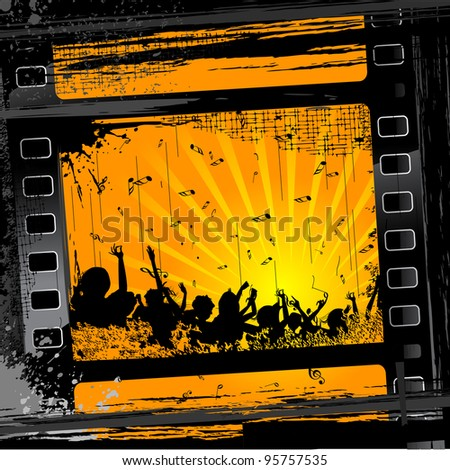 illustration of party people in film stripe on grungy background - stock vector