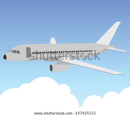 Illustration of passenger plane in the blue sky with clouds