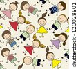 Illustration of pattern of kids icons, kids groups, vector illustration - stock photo