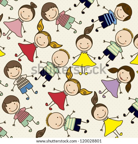 Illustration of pattern of kids icons, kids groups, vector illustration - stock vector