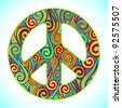 illustration of peace sign made of colorful swirl - stock vector