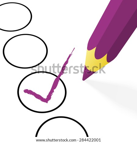 illustration of pencil colored purple drawing a hook