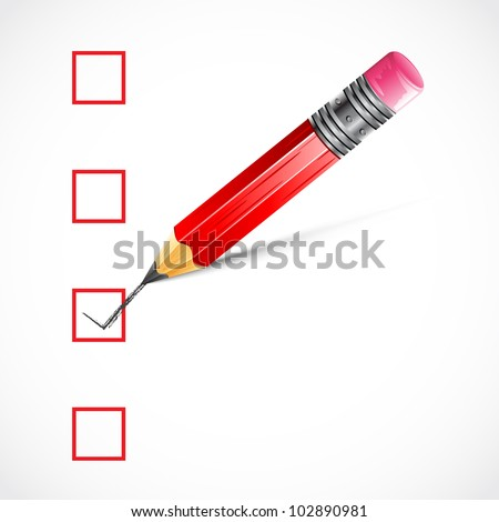 illustration of pencil making tick in check box - stock vector