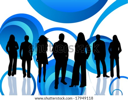 Illustration of people and abstract - stock vector