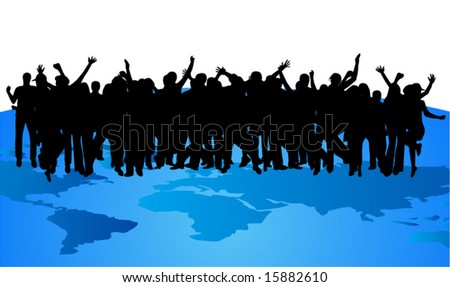 Illustration of people and map - stock vector