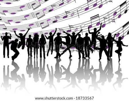 Illustration of people and music sheet - stock vector