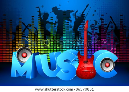 illustration of people dancing in party on colorful musical background - stock vector