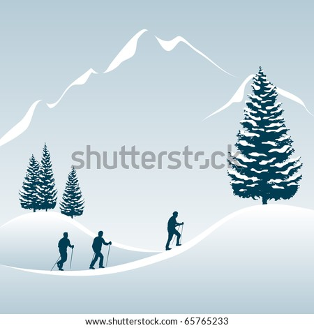 Illustration of 3 people enjoying a walking tour in the snowy mountains