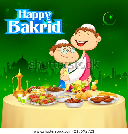 illustration of people hugging and wishing Happy Bakrid - stock vector