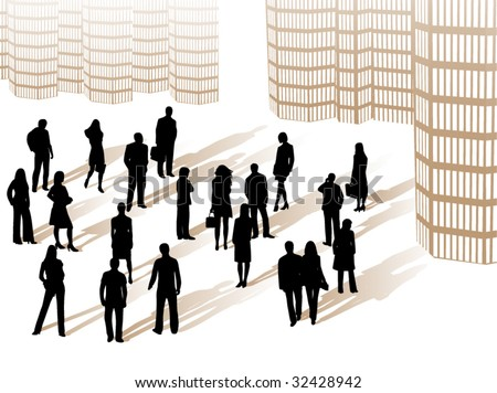 Illustration of people in the city - stock vector